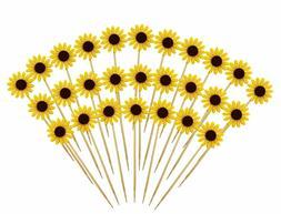 Cake Cupcake Topper Picks Party Sunflower Decoration For Bir