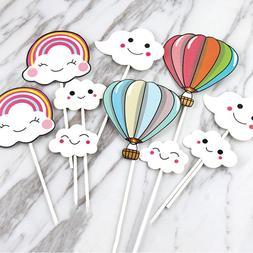 Cake Flags Cupcake Cake Topper hot-air balloon rainbow Cloud