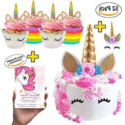 La La Unicorn Cake Topper & Cupcake Party Decorations - Hor