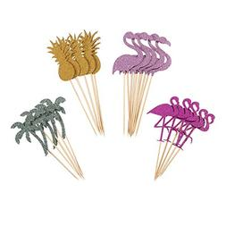 Partico Cake Topper Pink Flamingo Pineapple Cupcake Picks fo