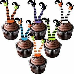 Cake Toppers 48 Pieces Halloween Cupcake Happy Props Witch's
