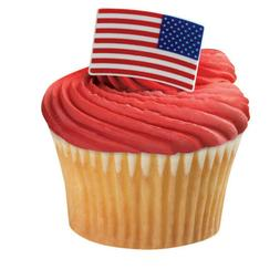 Cake Toppers Patriotic American Flag Cupcake Rings One Dozen