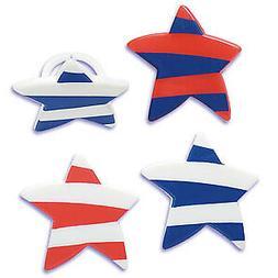 Cake Toppers Patriotic Striped Stars Cupcake Rings One Dozen