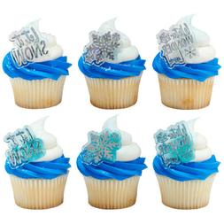 Cake Toppers Winter Wonderland Cupcake Rings Let it Snow One