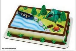 Camping Cake Decoration Topper Kit Cupcake Fire pi Birthday