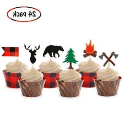 Camping Cupcake Toppers Wood Grain Buffalo Plaid Wrappers Wo