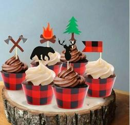 Camping Cupcakes 24 Toppers w/24 Wood Grain Buffalo Plaid Wr