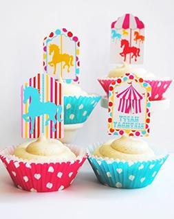 Carousel Cupcake Kit Carnival Cupcake Toppers Baking Papers