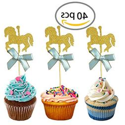 KWJOY 40 Pieces Carousel Horse Theme Gold Glitter Cupcake To