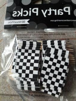 Checkered flag cupcake toppers; NASCAR Cupcake Picks; Mad Ha