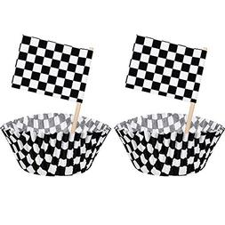 TecUnite 100 Pieces Checkered Flag Race Flag Cupcake Topper