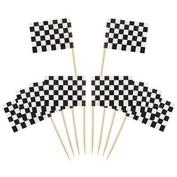 Pangda 100 Pack Checkered Racing Flag Party Cupcake Picks To