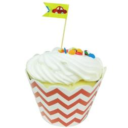 Wrapables Standard Size Chevron Cupcake Wrappers , Orange