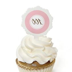 Chic 100th Birthday - Pink and Gold - Cupcake Picks with Sti