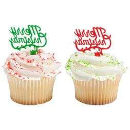 christmas cake toppers merry christmas cupcake picks