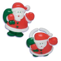 Christmas Cake Toppers Santa Cupcake Rings One Dozen