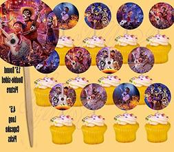 Coco Disney Movie Cupcake Picks Cake Toppers, Double-Sided,