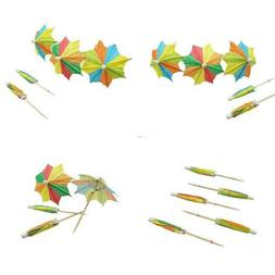 Colorful Paper Umbrellas Cocktail Parasol Picks Cupcake Topp