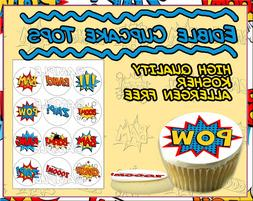 comic book cupcake toppers superhero words edible