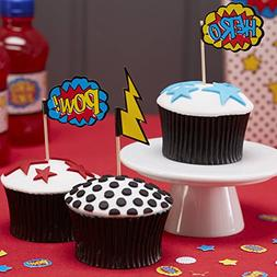 Ginger Ray Comic Superhero Pow & Hero Party Cupcake Picks ,