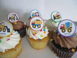 Construction vehicles Rings cupcake toppers - 12ct - dump tr