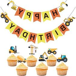 Construction Zone Banner and Cupcake Topper Birthday Theme P
