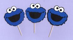 cookie monster cupcake toppers 15 pcs handmade
