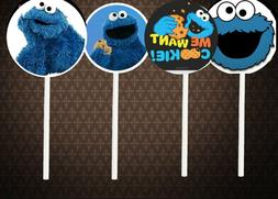 Cookie Monster Cupcake Toppers lot 12 pieces cake Birthday P