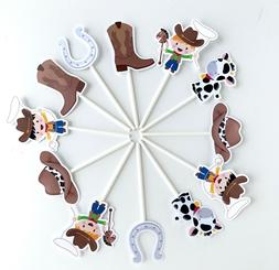 Cowboy Cupcake Toppers 12pcs, Baby Shower Decoration, Birthd