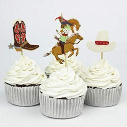 Areena Shop Cowboys Theme Party Supplies Cartoon Cupcake Top