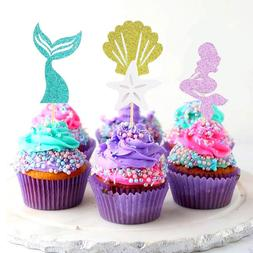 Creative New 24Pcs Mermaid Ocean <font><b>Cupcake</b></font>