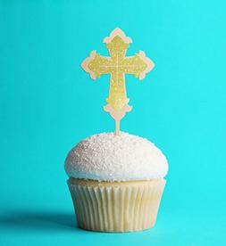 Cup Cake Topper Cross Baptism,Communion 2.7 X 5.7 Inches Las