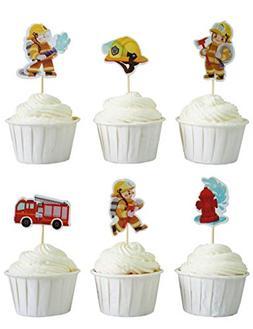 BeBeFun Cupcake Decorative Toppers The Firefighter Brave Fir