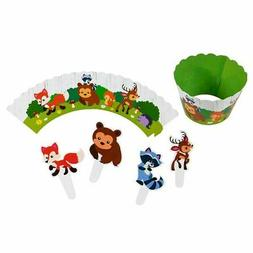 Animal Cupcake Toppers and Liners - 102-Piece Woodland Safar