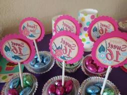 16th birthday, cupcake topper, dark pink,round,20 pieces, sw