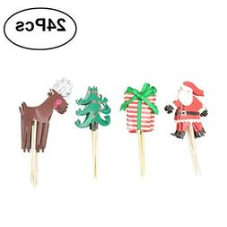 Tinksky Cupcake Topper Decorative Santa Claus Cupcake Picks