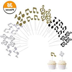 Wangyue Cupcake Topper Music Symbol Notes Decorations Party