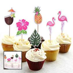 48-Pack Cupcake Toppers For Hawaiian Luau Summer Flamingo bi