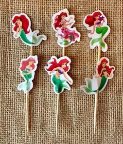 The Little Mermaid Cupcake Toppers Ariel the Mermaid Birthda
