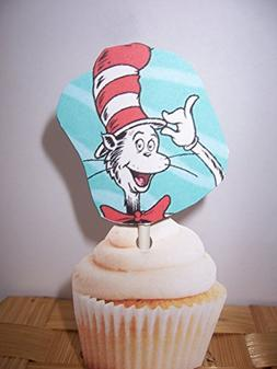 Cupcake Toppers- Cat in the Hat- 3 designs- Set of 24