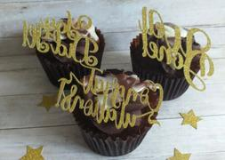 Cupcake toppers CONGRATULATIONS WELL DONE GLITTER 6 GOLD SIL
