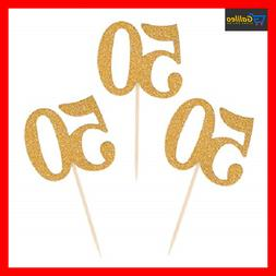 Donoter 50pcs 50th Cupcake Toppers Gold Glitter Number 50 Ca