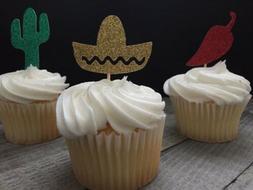 Fiesta Cupcake Toppers, Sombrero, Cactus, Chili, Cinco De Ma