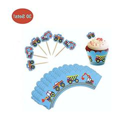 Cupcake Toppers and Wrappers for Boy Birthday - Vehicle Part