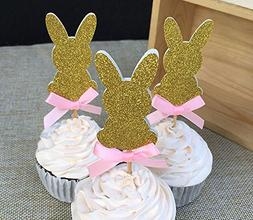 12 pcs Custom Bow Color&Gold/Silver/Black Glitter Rabbit Cup