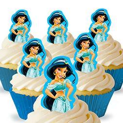 Cakeshop 12 x PRE-CUT Disney Princess Jasmine Stand Up Edibl