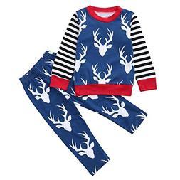Cute 2pcs Autumn Winter Toddler Baby Sweatshirt Pajama Set,