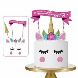 Cute Handmade Unicorn Cake Cupcake Topper Decoration Birthda