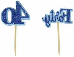 All About Details CUTFORT Blue Forty Cupcake Toppers, Blue,