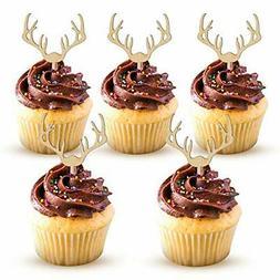 Deer Cupcake Toppers Wooden Baby Shower Woodland Cake Picks